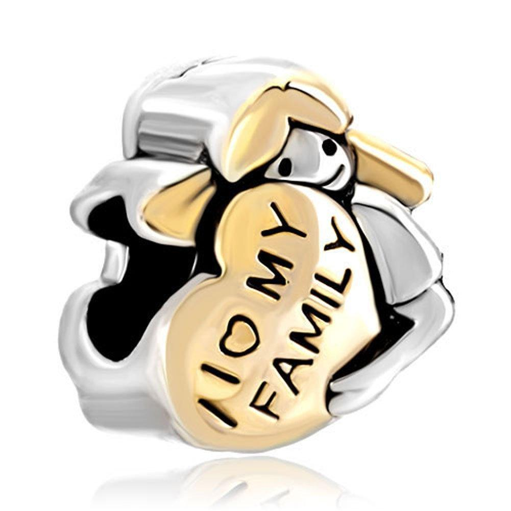 Фабрика сразу Продажа очарования формы сердца Я люблю свою семью европейского шарма шарика Fit Pandora Chamilia Biagi Шарм браслет