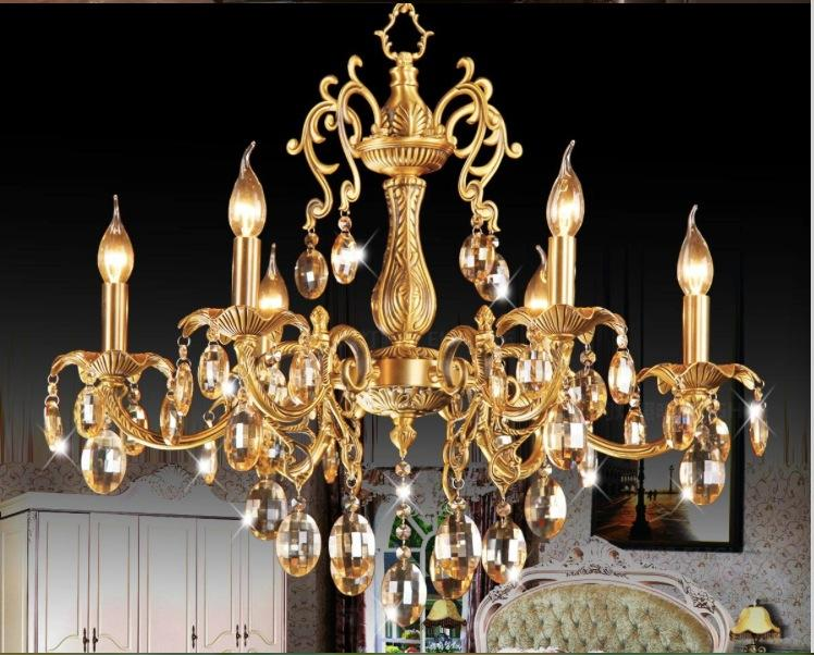 D680mm H650mm 6 Heads Brass Pendant Lamp, Antique Brass Chandelier, Vintage Total Copper Glass AC 100% Guaranteed Free Shipping