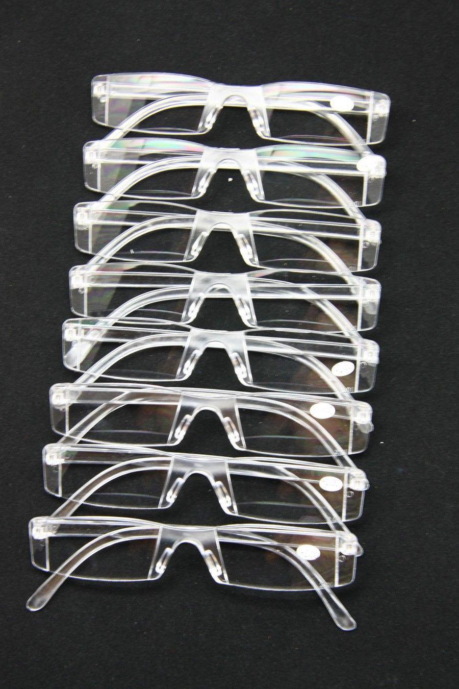Obrännbara män kvinnor läser glasögon, transparent plast Rimless presbyopia fickläsare, + rx optiska glasögon för åldrande människor, senior