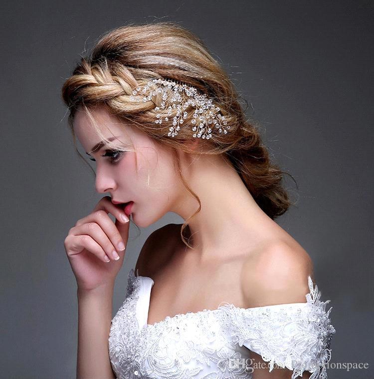 Joyería de la flor Crystal 2016 Moda Peine Popos de novia Accesorios para el cabello Tiaras Peines de pelo brillante de novia en stock Listo para enviar CPA472
