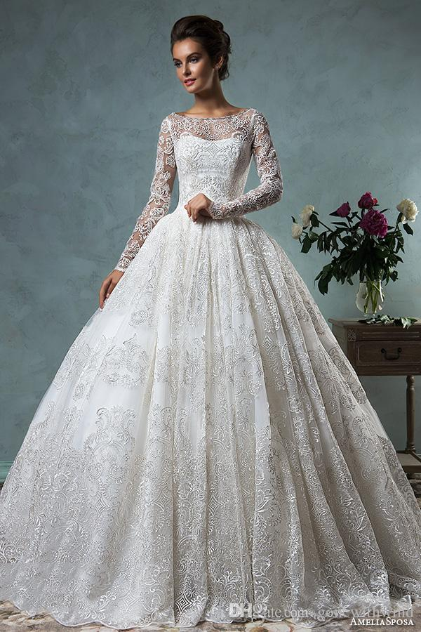 Long sleeves ball gown muslim wedding dresses 2017 amelia sposa long sleeves ball gown muslim wedding dresses 2017 amelia sposa bridal wedding gowns embroidery lace bateau junglespirit Image collections