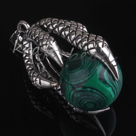 10pcs all'ingrosso stile cinese placcato in argento malachite pietra rotonda tallone intarsio drago artiglio gioielli ciondolo pendente