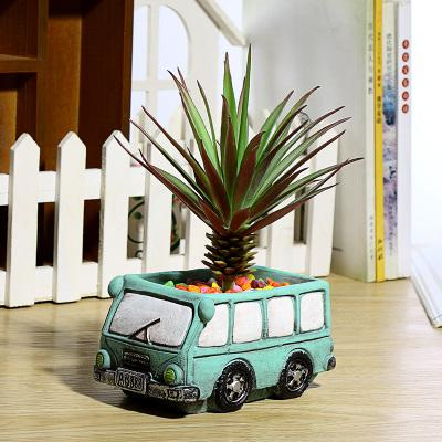 Fai da te creativo del fumetto retrò piccola auto cemento pianta grassa vaso di fiori per la decorazione ufficio a casa luce blu rosa forniture da giardino