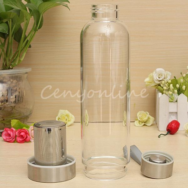 Modern Tasarım BPA Ücretsiz Cam Spor Su Şişesi Çay Filtresi Demlik Koruyucu Çanta 550 ml Meyve Açık Çevre Dostu