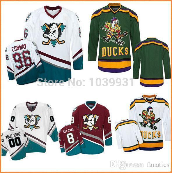 2021 Customized Mighty Ducks Hockey Jersey 96 Charlie Conway 33 ...