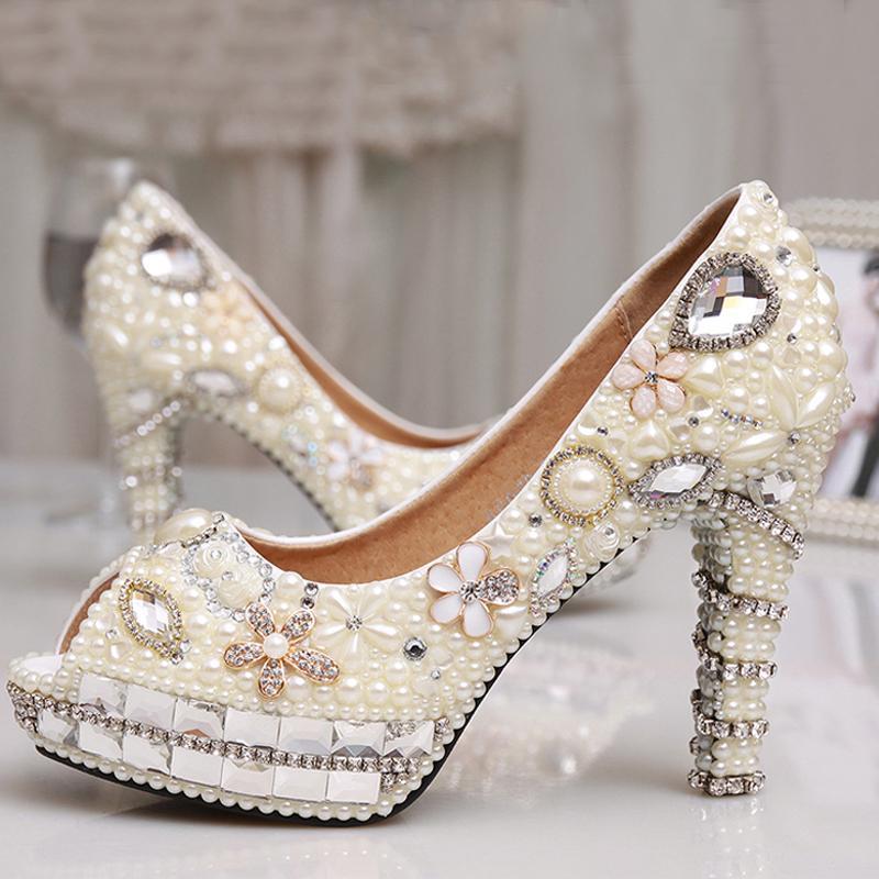 Sexy Fashion Ivory Pearl Dress Shoes Peep Toe Women Rhinestone Bridal Wedding High Heel Shoes Party Prom Shoes 4 Inches Heel