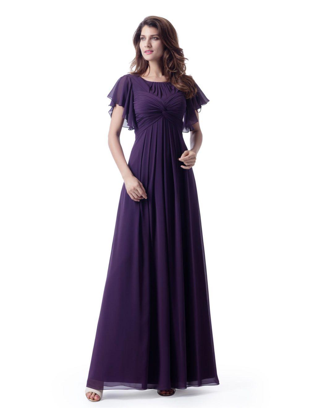 Lila a-line lange bescheidene Brautjungfernkleider mit Flatternhülsen geraffte Chiffon Knöchellänge lds Brautjungfer Robes mit Empire Taille