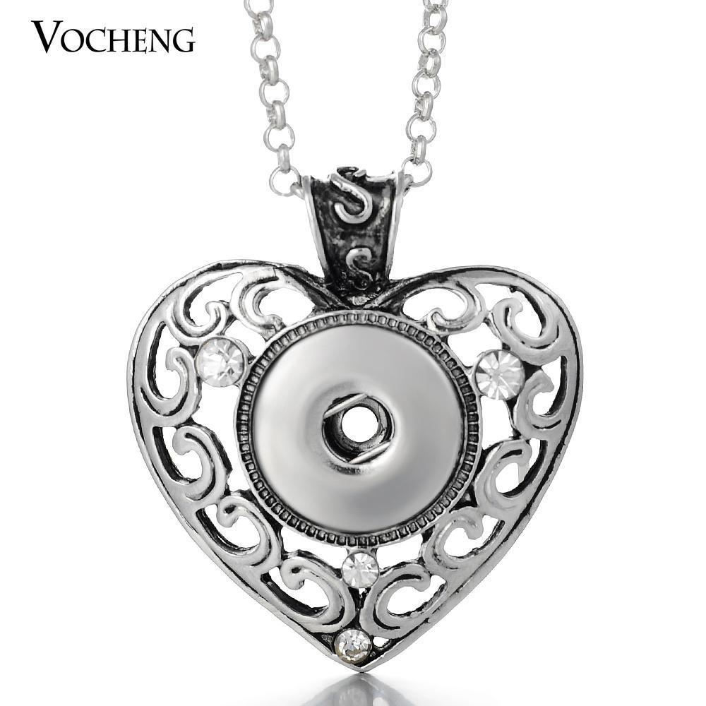 Vocheng نوسا 18 ملليمتر القلب المعلقات قلادة للتبادل مجوهرات التقط سحر قلادة مجوهرات مع المقاوم للصدأ سلسلة NN-060