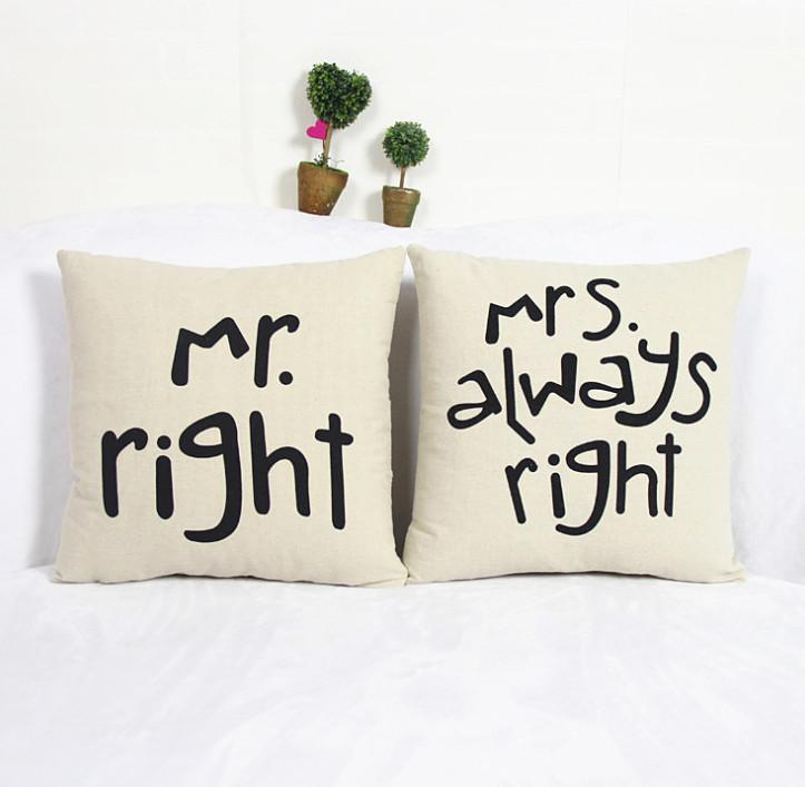 Cuscini Mr Right Mrs Always Right.Simple Signature Couple Fun Mr Right Mrs Always Right Linen Pillow