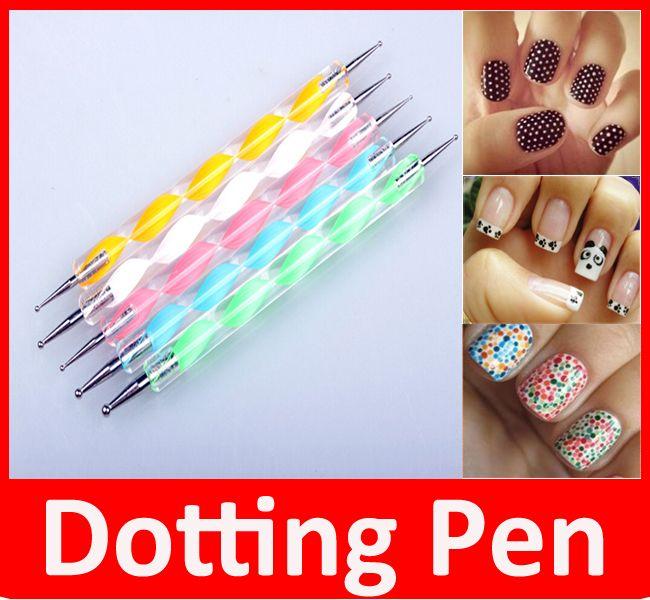 5 pcs Nail Art Tool Steel Dotting Marbleizing Pen Nail Art Paint Pen Decoration Nail Art Manicure Tool