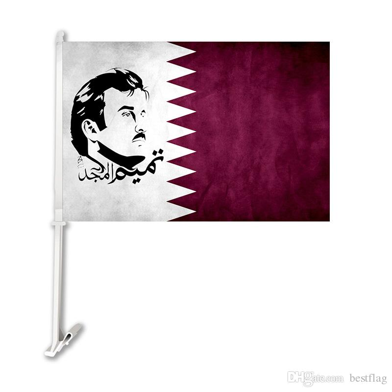 Digital-Druck Katar nationale Autoflaggenfliegenentwurfs-Polyester-Fahne 100% mit 51cm Plastikfahnenmast-Gewohnheitsflagge