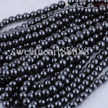 MIC NUOVO 8mm 200pc Black Natural Jet Hematite Gemstone rotondo palla sciolta trovata perline gioielli fai da te