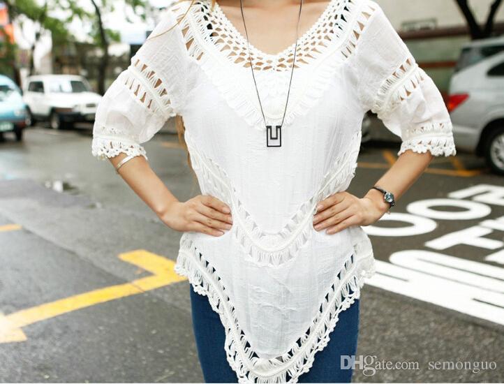 Compre 2014 Nueva Mujer Ahuecar La Crochet Blusa Boho Ajuste Flojo ...