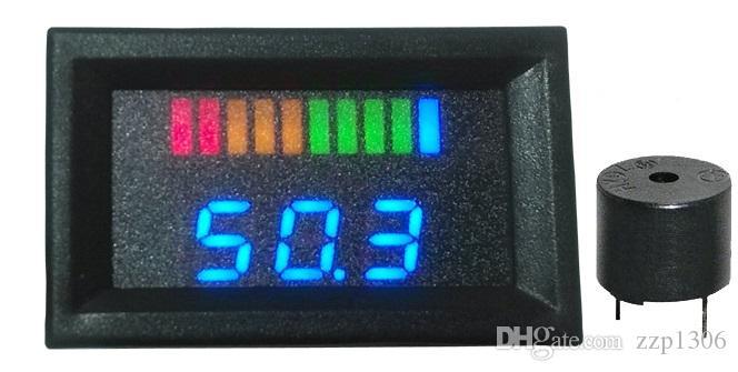 10 بار مؤشر LED أزرق للبطارية ، مؤشر شحن مع مؤشر الجهد الكهربائي لجولف Golf ، دراجة نارية ، من 12V إلى 100V