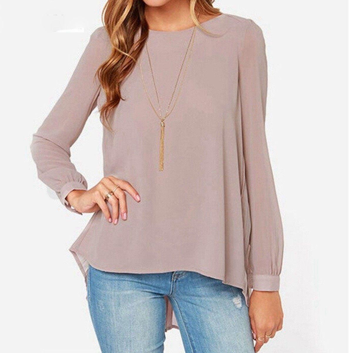 도매 봄 패션 여성 쉬폰 블라우스 캐주얼 셔츠 Blusas 여성 긴 소매 플레 티 백 느슨한 블라우스 플러스 크기