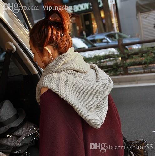Großverkauf-Freies Verschiffen neue 2015 Herbst-und Winter-weiblicher reizender warmer Wollknit-Schal-Schal-Kragen mit Kapuze Knit-Schals