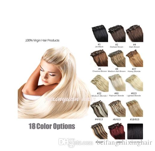 Wholesale - 220g/pc 10pc/set 100% real human hair/brazilian hair clips in extensions real straight full head high quality