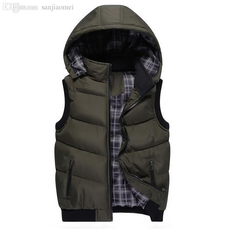 Otoño-Clásico de algodón de los hombres con capucha abrigado cálido espesar capa de la chaqueta Puffer chaleco Outwear