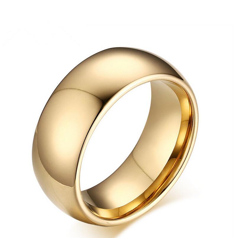 8mm Fashion Gold Tungsten Steel Simple Plain Wedding Rings Free Engraving