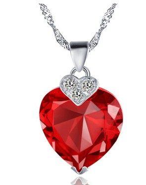 mor ** mavi * kırmızı elmas kalp t bayan beyaz zincir kolye (1.5 * 2.3 CM) (sp3658) giyui