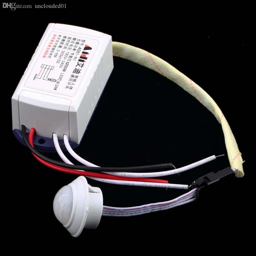 Toptan-Ücretsiz Kargo 1 adet Sıcak Yeni 200 W 220 V IR Kızılötesi Modülü Vücut Sensörü Anahtarı Akıllı Işık Lambaları Hareket Algılama Anahtarı Sıcak