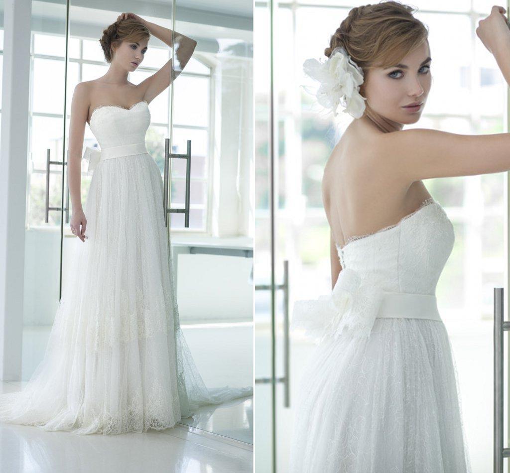 2015 кружева свадебные платья с бантом милая развертки поезд-line на заказ плюс размер свадебные платья элегантный чешский свадебное платье