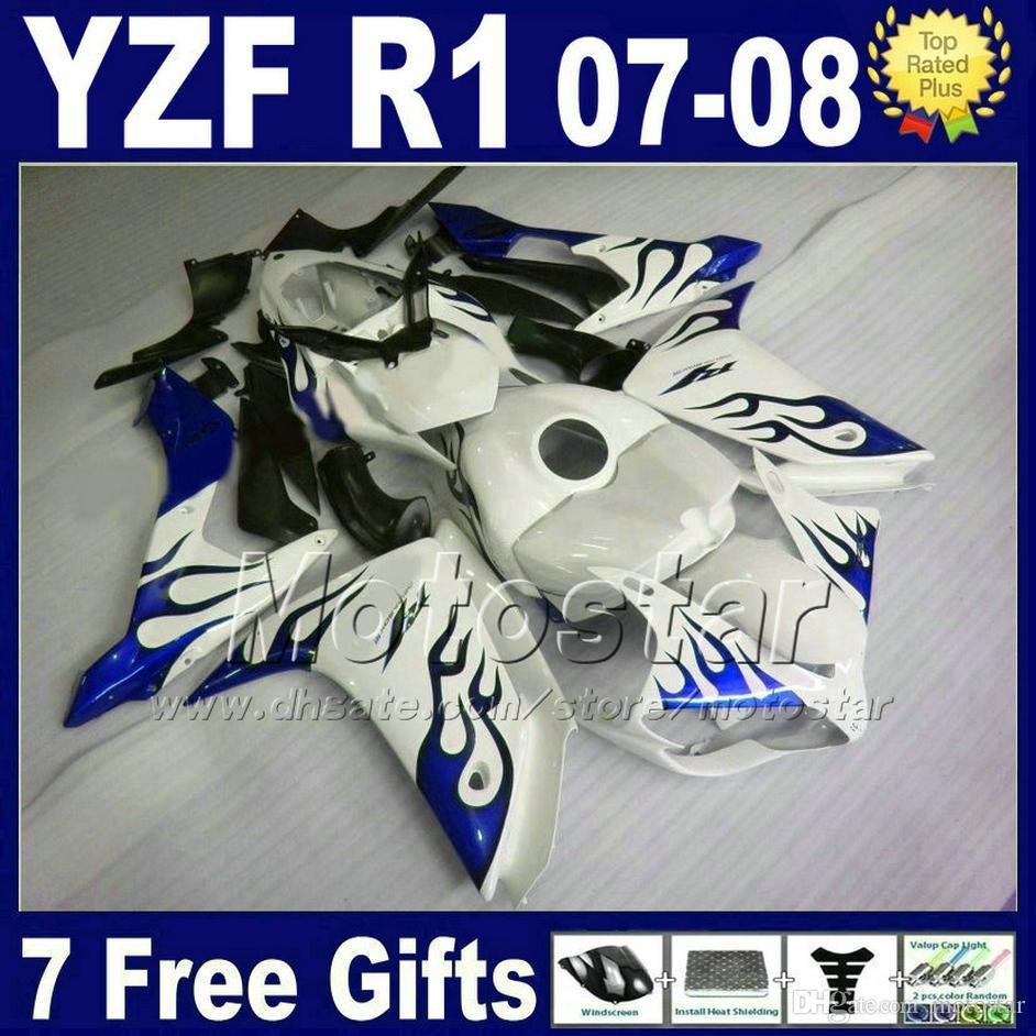 نفطة NEW HOT + غطاء خزان للYAMAHA R1 مجموعات هدية 2007 2008 YZFR1 07 08 أزرق أبيض حقن ABS MT62