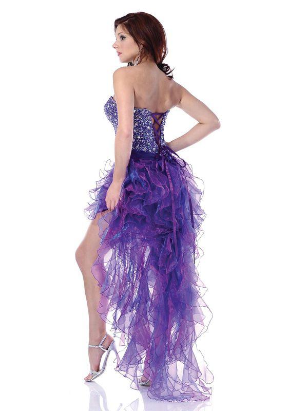 2018 Hi Lo Cascading Ruffles Corset Prom Dresses Sweetheart Lace Up ...