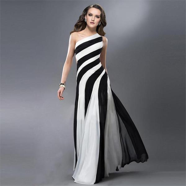 2016 Black And White Striped Prom Dress