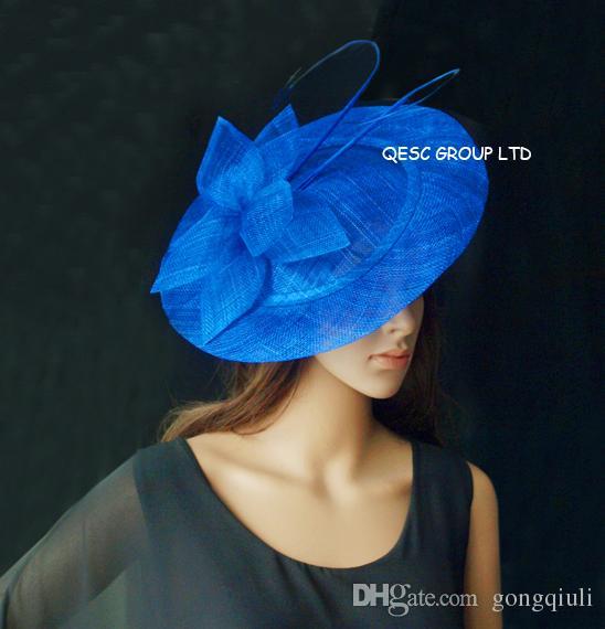 Blu reale BIG piattino Sinamay cappello Fascinator con lunga spina otrich per il matrimonio, Kentucky Derby, gare.