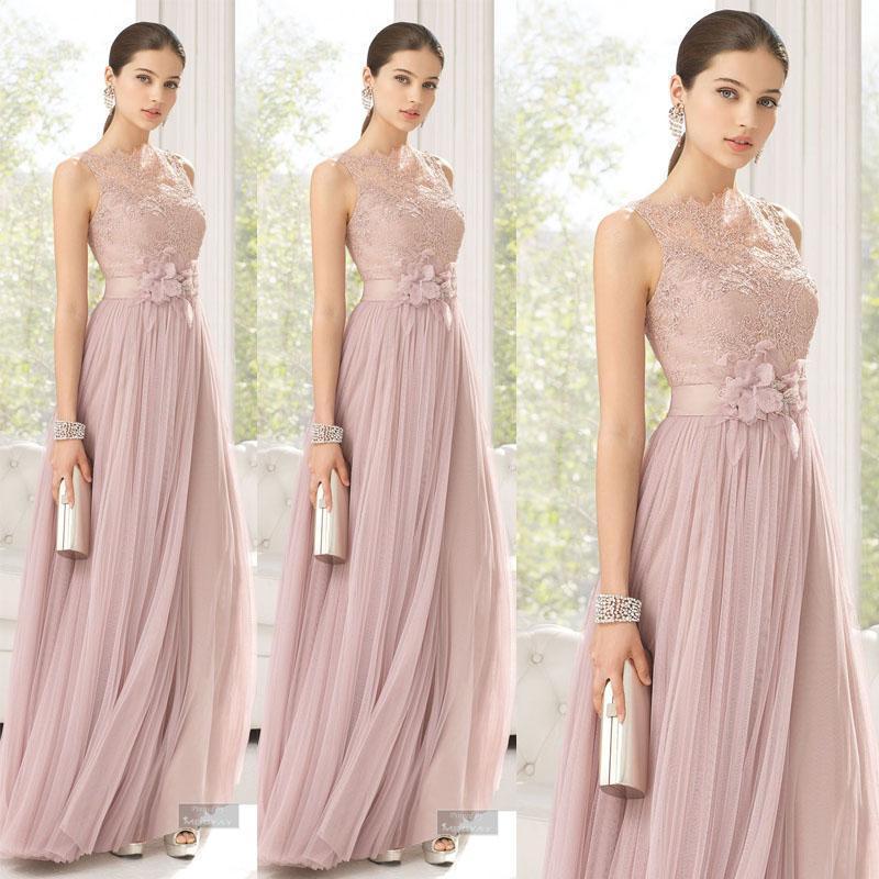 2016 Günstige Brautjungfernkleider Erröten Rosa A-Line Tüll Spitze Lange Trauzeugin Kleider Bodenlangen Sheer Brautjungfer Kleider Mädchen