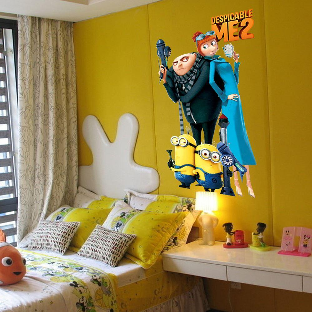 Minion Wallpaper For Bedroom Despicable Me 2 Minions And Gru Wall Stickers For Kids Rooms