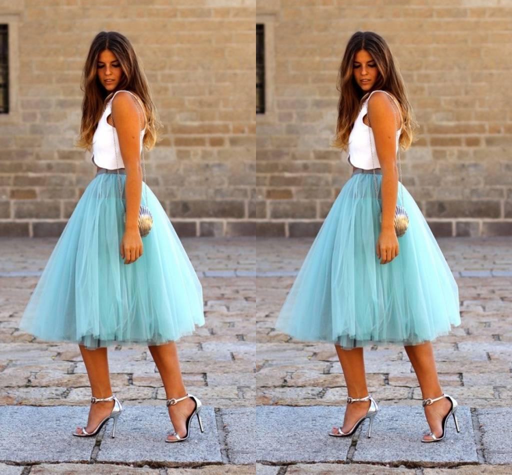 Fashion Short Skirts For Women Knee Length Tulle Blue Tutu Skirts Summer Dresses Formal Skirt Custom Made Mini Skirt Maxi Skirt