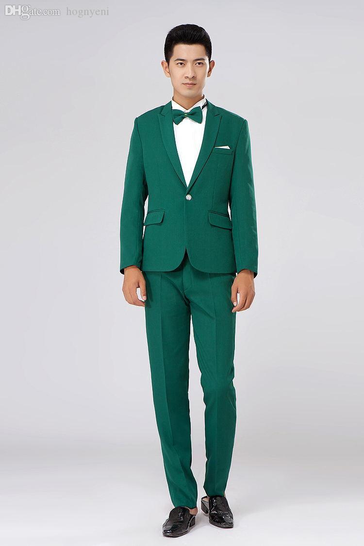 Großhandel-neue 2021 langärmelige Herrenanzüge Kleid Hosted Theater-Smoking für Männer Hochzeit Prom Performance Tuch Anzug Jacke und Pant Dwho