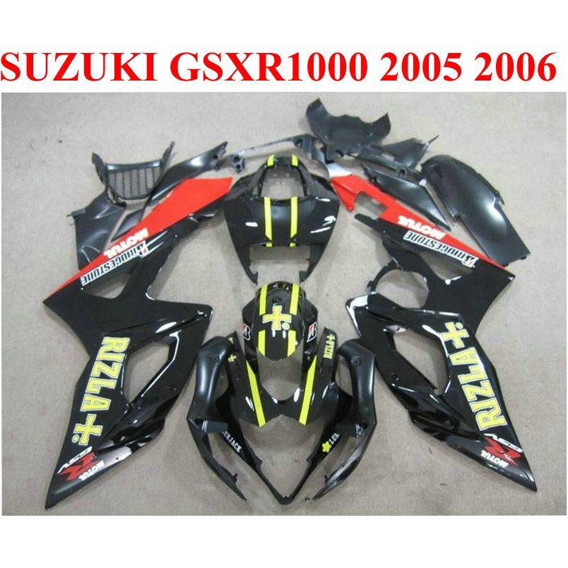 Кузов обтекатели набор для SUZUKI 2005 2006 GSXR1000 K5 K6 красный черный RIZLA 05 06 gsxr 1000 новый обтекатель комплект TF66