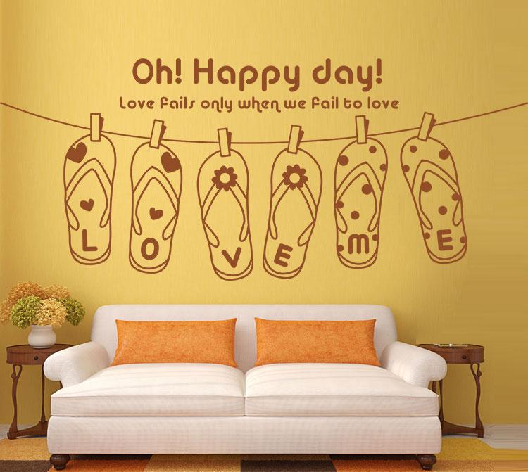 Love Me Slipper Wall Quote Decal Sticker Decor Oh Happy Day