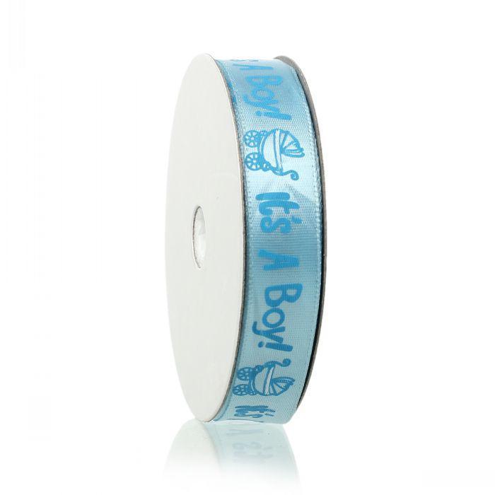 """Beijia Terylene Satin Baby Shower Decoration Ribbon Blue Carrozzina """"It's A Boy"""" Modello Baby Boy 15.0mm, 1 rotolo"""