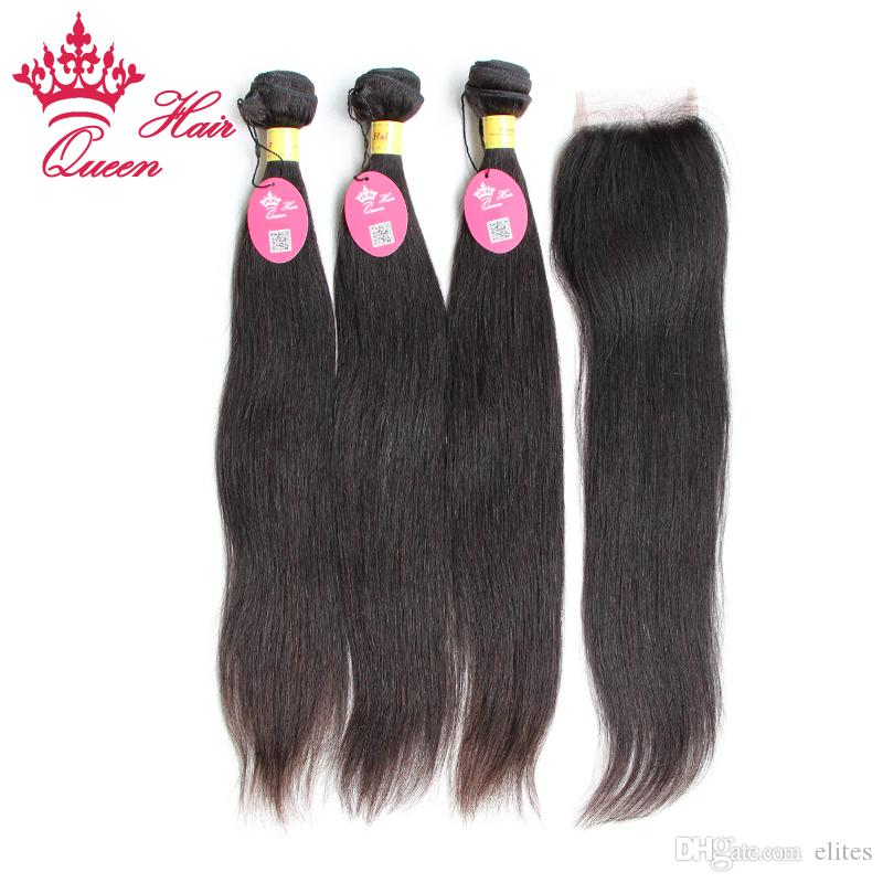 Cheveux de la Reine 100% non transformés Péruvienne Vierge Cheveux Raides 4 pcs / lot, 1 Pc Dentelle Fermeture 3 Pcs Cheveux, Livraison gratuite par DHL