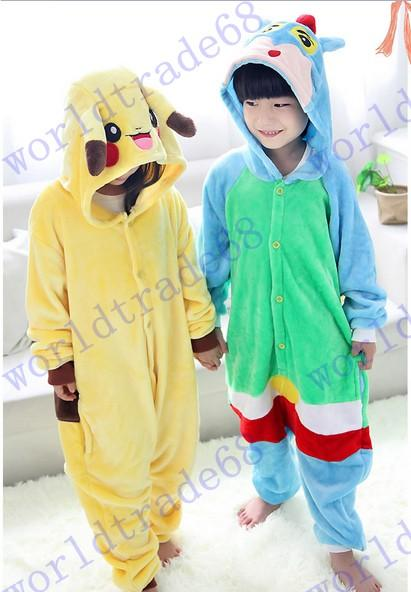 LuckyBaby Bambini Donna Pikachu Pigiama Adulto Anime Tutina Tuta Cosplay Vestiti costumedi Halloween