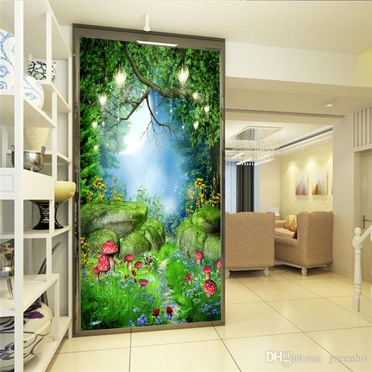Charming fairy tale wonderland wall mural photo wallpaper for Alice in wonderland wallpaper mural
