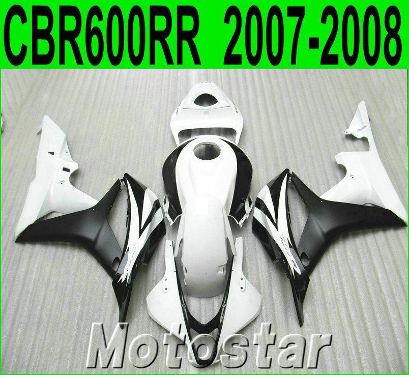 Injecção carenagens da motocicleta para HONDA CBR600RR 07 08 plástico preto kit carenagem branca CBR 600RR F5 2007 2008 LY95