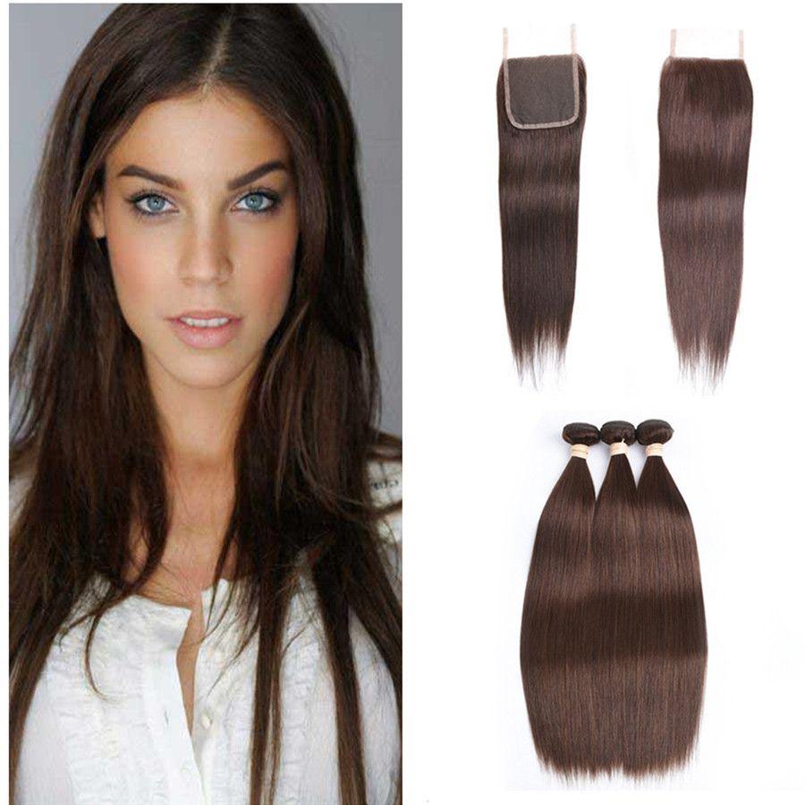 Светло-коричневый перуанский прямые волосы утки с закрытием 4 шт. лот #4 шоколадно-коричневый человеческих волос 3Bundles с 4x4 кружева закрытия