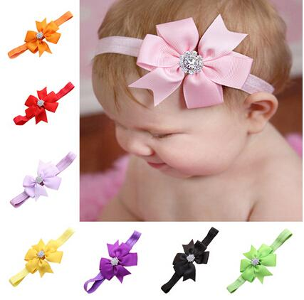 Bebé arco Rhinestone Headband Hair Bowknot Havebands Infant Cabello Accesorios Tocado Flor 20pcs / lot