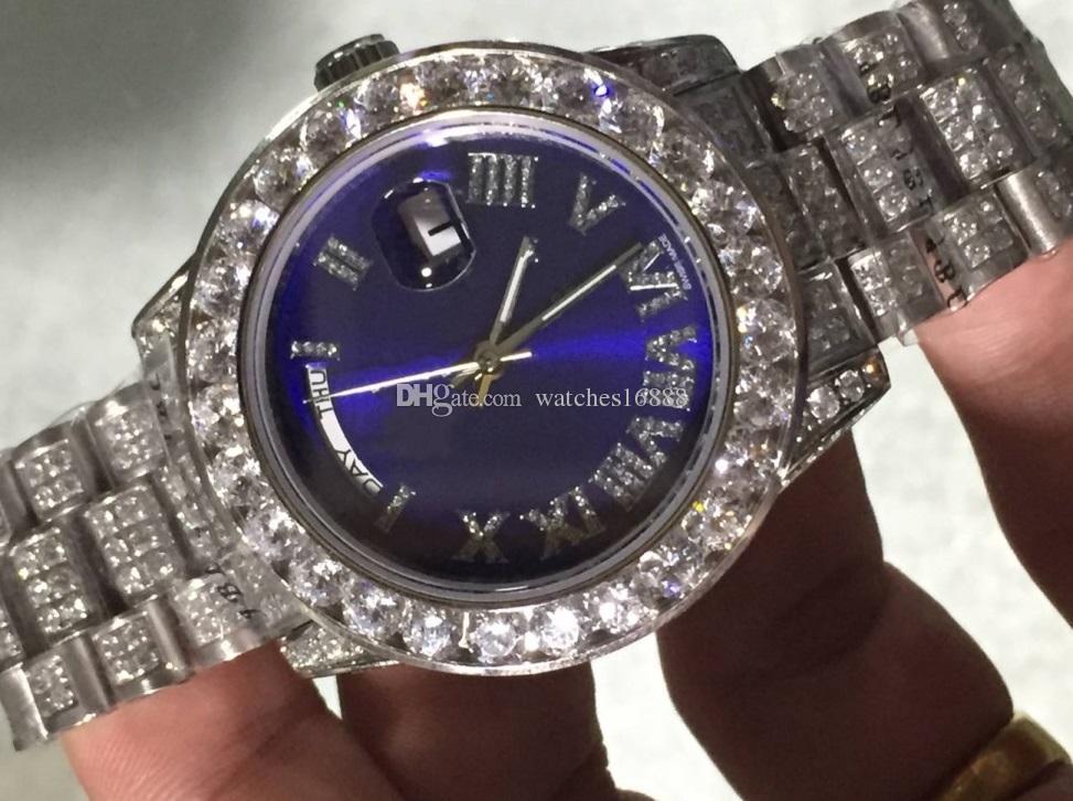 Fabriklieferant TAG-DATUM Alle Diamond Roman Dial Platinum Full Diamond 2813 Uhrwerk Mechanisch Automatik Herrenuhren 41mm Blau Herrenuhr