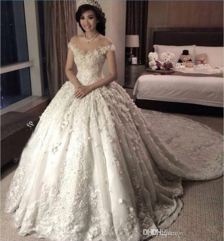2020 New Luxurious Ball Gown Wedding Dresses Illusion Neck Lace Appliques 3d Floral Flowers Puffy Chapel Train Plus Size Puffy Bridal Gowns Italian Wedding Dress Mature Bride Wedding Dresses From Crystalxubridal 209 65