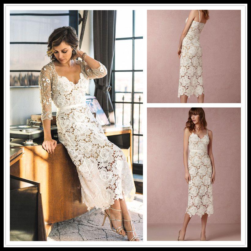 Sexy Lace Spaghetti Strap Beach Wedding Dress Short Tea Length Hippie Dresses White Custom