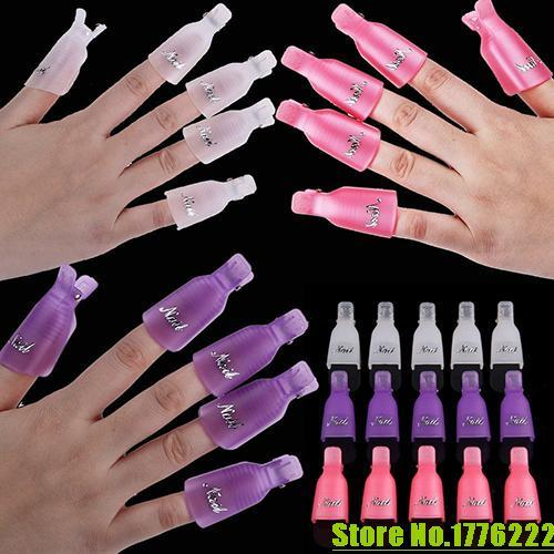 10 шт./лот пластиковые акриловые ногтей замочить от клип Cap УФ-гель для снятия лака обернуть инструмент