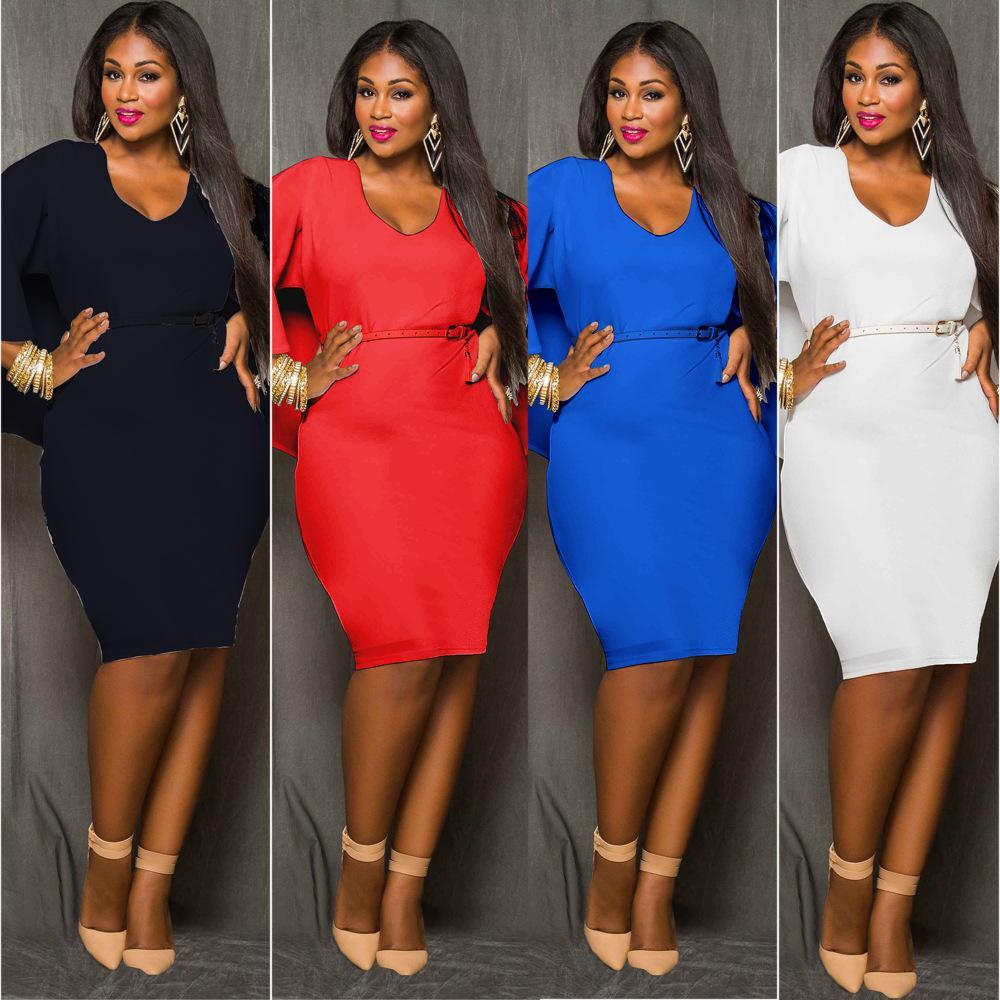 Red Blue Black White Plus Size Cape Dress Fashion Women O Neck