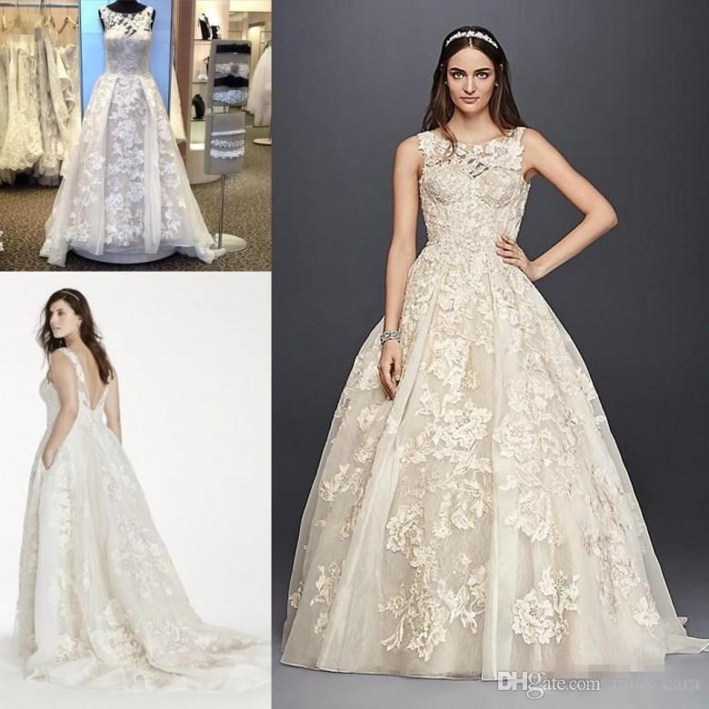2017 Real photo Gorgeous Lace Plus Size Country Wedding Dresses Sheer Neck overskirts Oleg Cassini Tank Applique Vintage Bridal Gowns