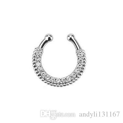 1pcs New Summer Style taboo punk crystal Mix Color nose rings and studs clip fake septum piercing nose Free shipping N0006